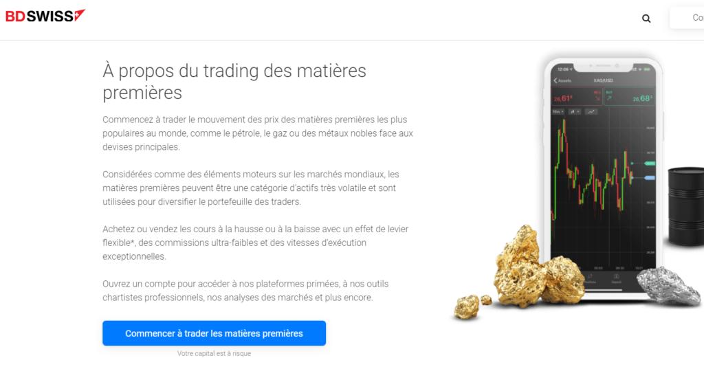 Trading des matières premières sur le logiciel de trading