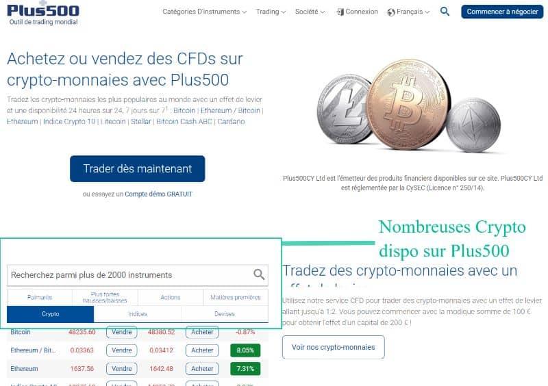Liste des crypto-monnaies disponibles sur plus500